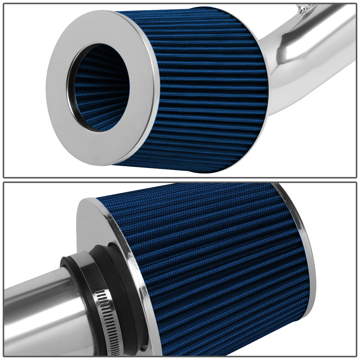 FOR 1998-2002 HONDA ACCORD V6 HIGH FLOW COLD AIR INTAKE SYSTEM+BLUE CONE FILTER
